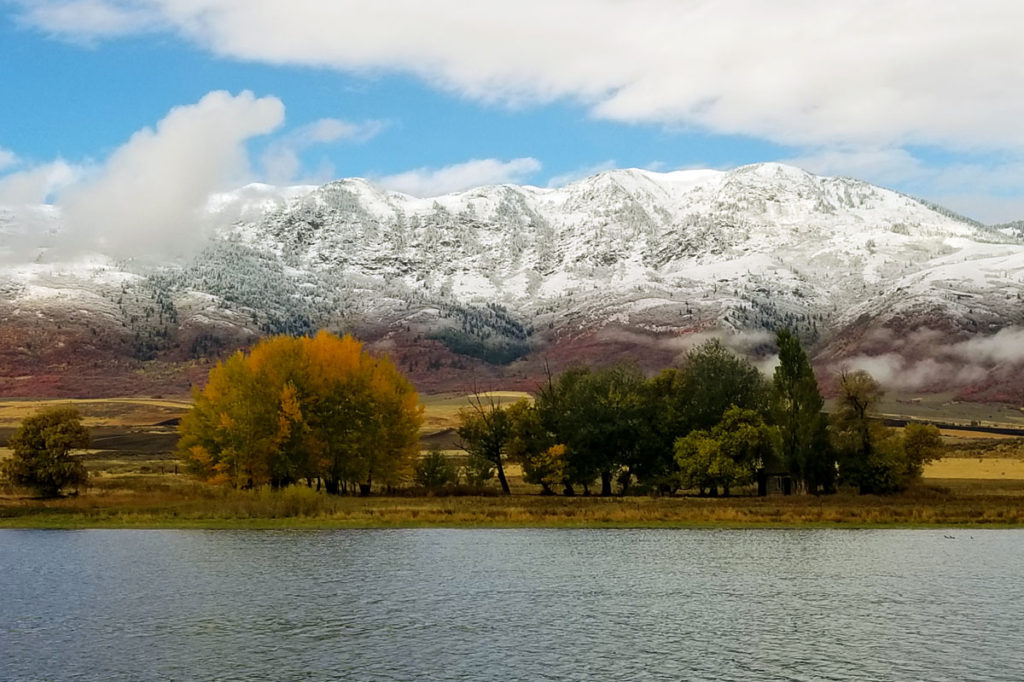 Oxford Peak covered in the first snow