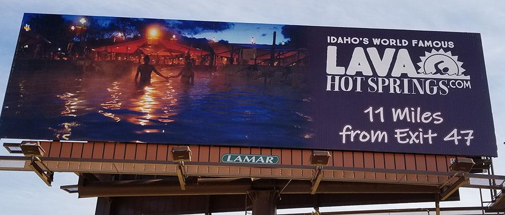 Lava Hot Springs Billboard in Pocatello Idaho