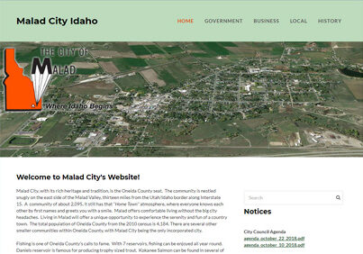 Malad City Idaho website designed with Weebly
